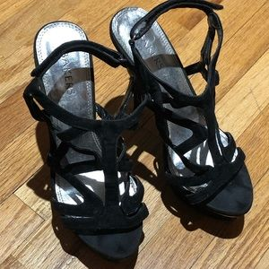 """High 4"""" Black Criss Cross Heels"""